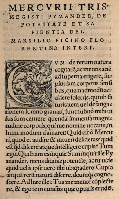 Marsilio Ficino († 1499) vertaling van Corpus Hermeticum (Hermes Trismegistus)