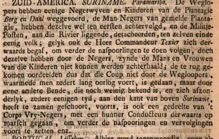 ZUID AMERICA SURINAME Paramaribo De Weglopers hebben eenige Negerwyven en Kinderen van de Plantagie Berg en Daal weggevoerd ...